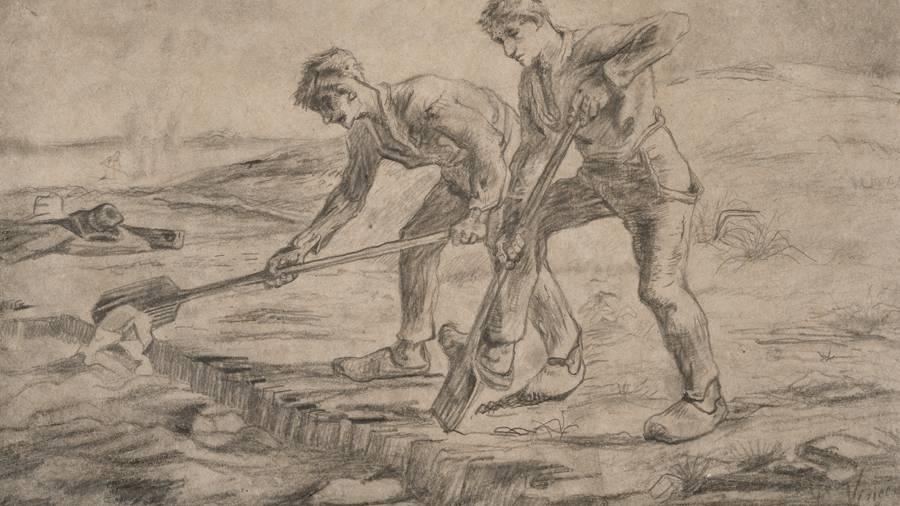 © Vincent van Gogh, Les Bêcheurs, (d'après Jean-François Millet), 1880, Dessin, 35x55 cm, Collections Ville de Mons, MBA.1019 © Collections Ville de Mons / Atelier de l'Imagier