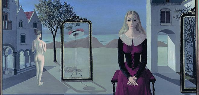 Paul Delvaux, L'ermitage, 1973, huile sur toile, 85 x 125 cm, Collection privée © Foundation Paul Delvaux, Sint-Idesbald – SABAM Belgium 2019