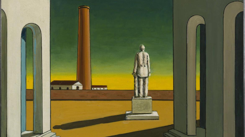 Giorgio de Chirico, Place d'Italie avec statue, ca 1965-1970